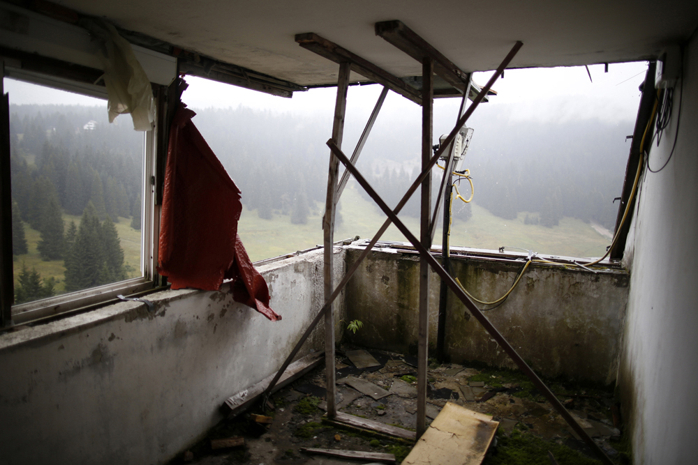 A view of the disused judges room for the ski jump from the Sarajevo 1984 Winter Olympics on Mount Igman, near Saravejo