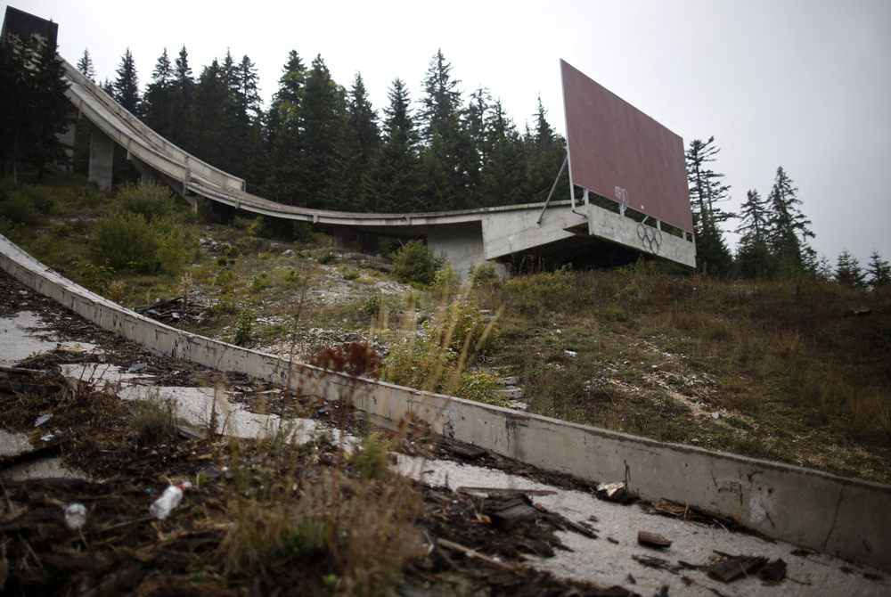 The Olympic Rings are seen on the disused ski jump from the Sarajevo 1984 Winter Olympics on Mount Igman, near Saravejo