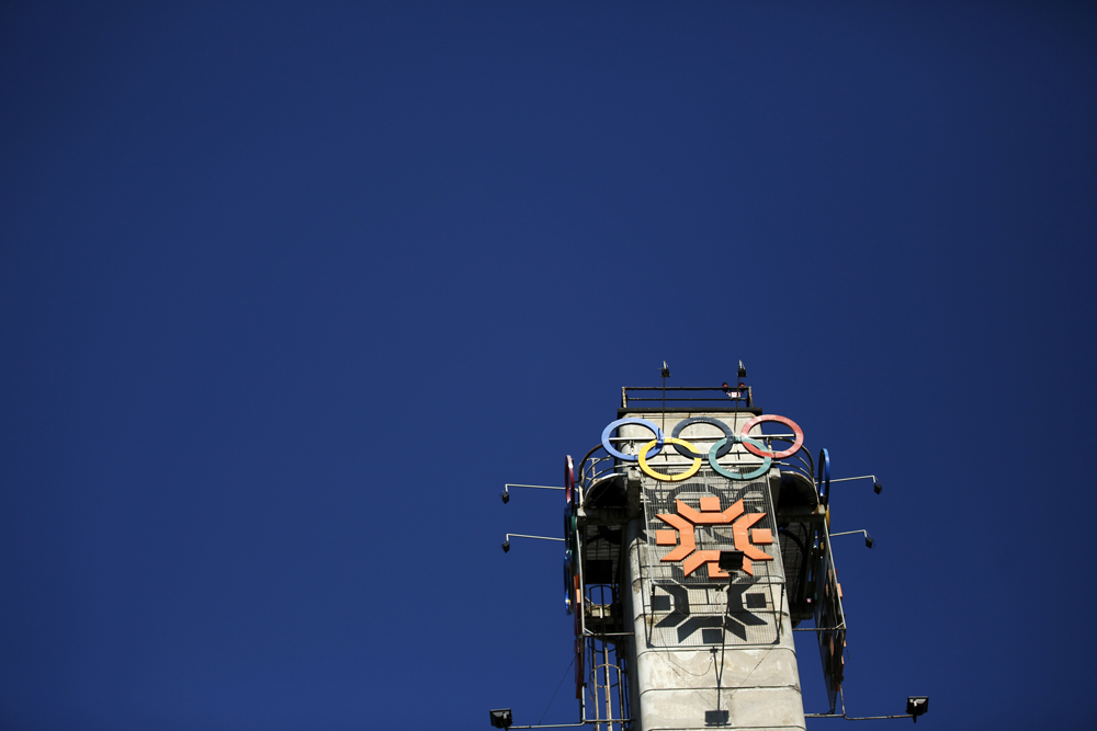 The logo of the Winter Olympics in Sarajevo is seen on a tower near the Zetra hall, the venue for the figure skating in Sarajevo