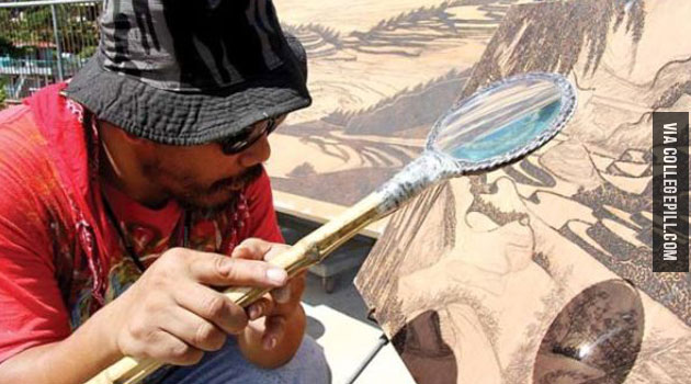 Artist Uses Sun And Magnifying Glass To Create Art